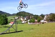 FAIL : Stupid Guy Jumps Huge Ramp With No Landing - BMX