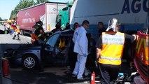 Accident sur l'A25, entre deux voitures et deux poids-lourds