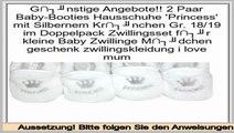 supermarkt 2 Paar Baby-Booties Hausschuhe 'Princess' mit Silbernem Kr�nchen Gr. 18/19 im Doppelpack Zwillingsset f�r kleine Baby Zwillinge M�dchen geschenk zwillingskleidung i love mum