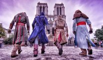 Parkour à Paris avec les personnages d'Assassin's Creed Unity.