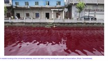 River In China Changes To Blood Red Color