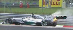 Formule 1 : la voiture de Lewis Hamilton en feu
