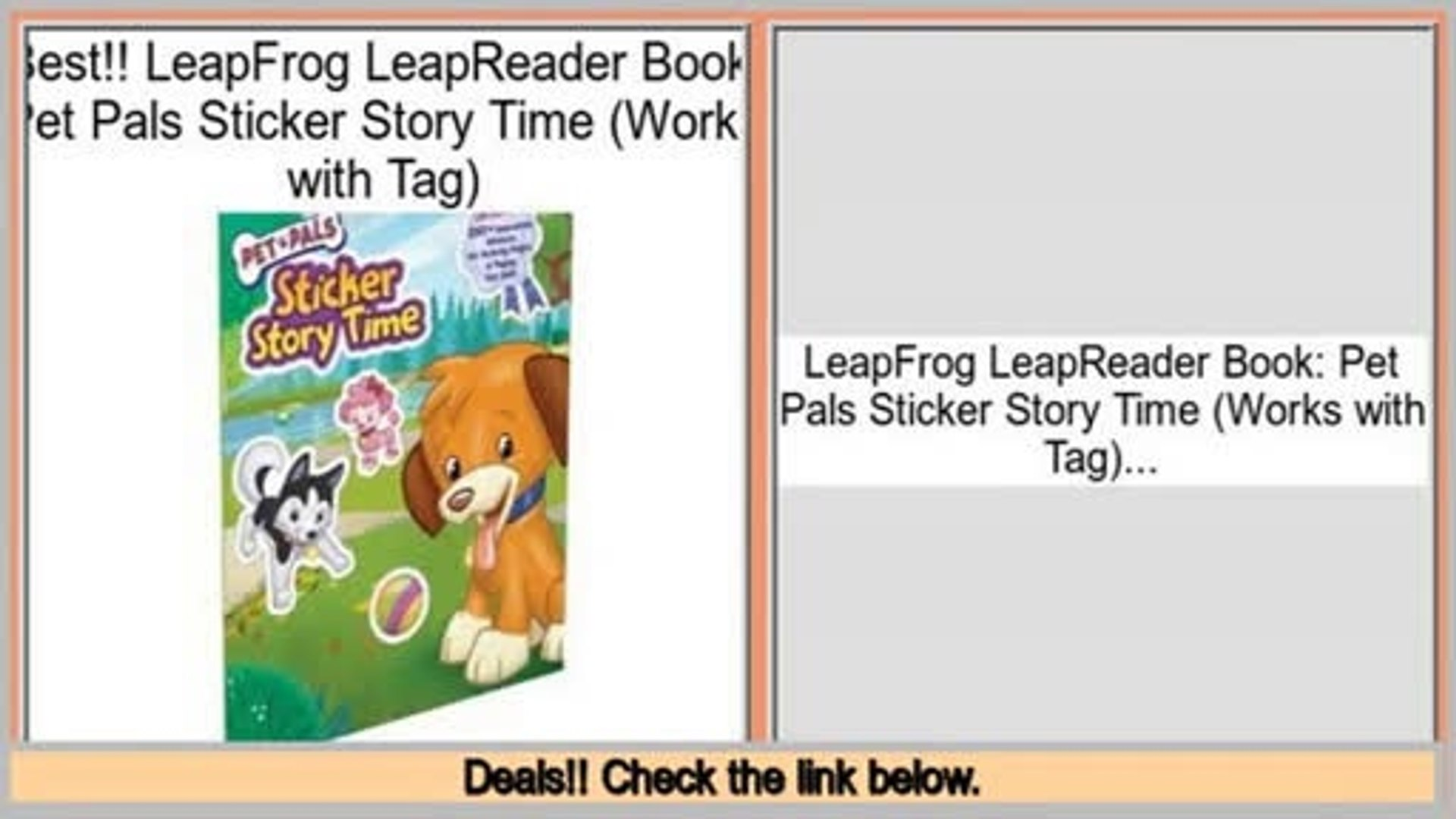 Best Deals LeapFrog LeapReader Book: Pet Pals Sticker Story Time (Works  with Tag)