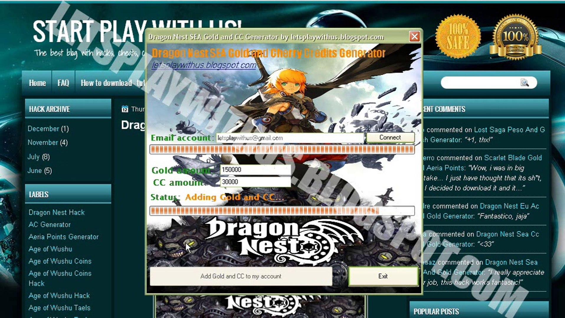 dragon nest cheat gold 2014