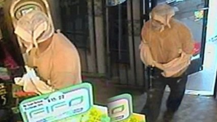 Man Swathed in Plastic Bags Robs Convenience Store