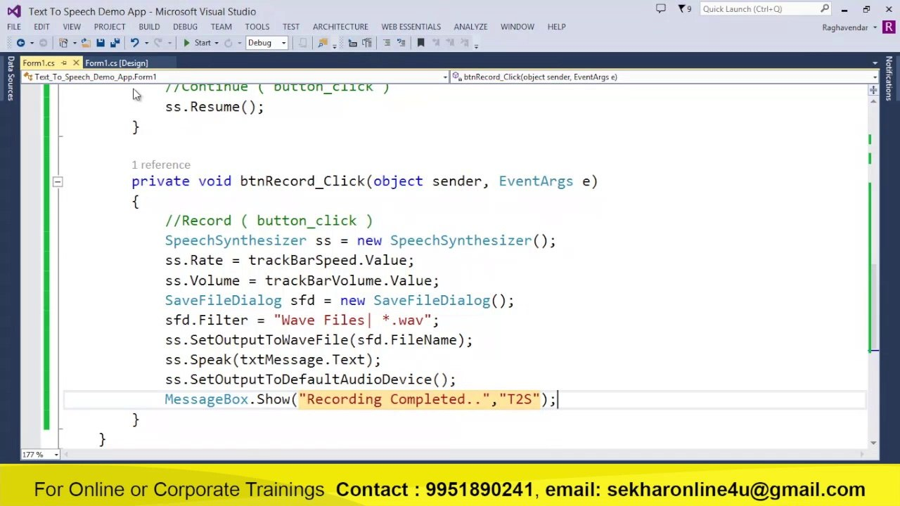 Text to speech application using C#