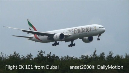Emirates Airlines Boeing 777, Landing and Takeoff at Milan Malpensa Airport. Plane Spotting