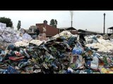 Waste paper collected for recycling process at a recycling yard in Uttar Pradesh