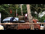 Construction material being unloaded in Kerala