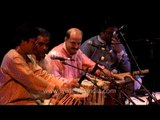 Indian tabla player Anindo Chatterjee perfoming in Delhi