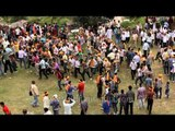 Mass gathering for bizarre festival of stone throwing