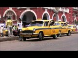 Taxis waiting for passengers outside Howrah railway station