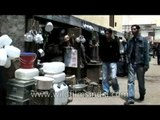 Pots, pans, stoves and water cans on sale in Ladakh Market