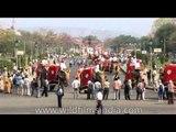 Decorated elephants parade during the Jaipur Elephant Festival at Holi