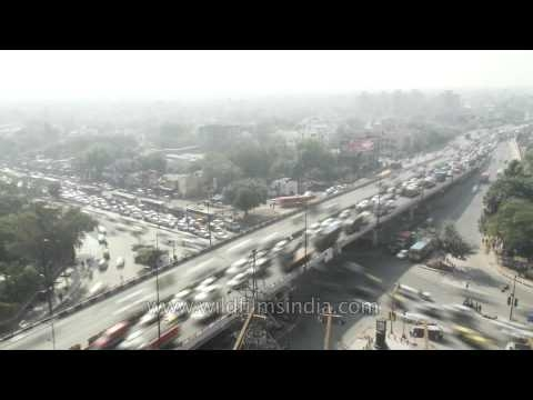 Madness of Delhi's traffic: seen from high above!