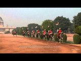Changing of the Guard with guards mounting on horses, Rashtrapati Bhavan