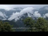 Puffy masses of monsoon clouds envelope the mountains of Sikkim