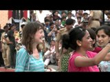 Foreigners dancing with Indians at Wagah Border