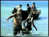 Jarawa tribe happy to meet the outsiders and get goodies!