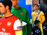 Aww! Mascot bawls his eyes out whilst holding hands with Mikel Arteta before Napoli v Arsenal