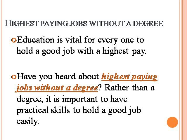 High paying jobs without degree