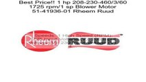 Rheem Ruud Protech 3/4 HP 120V 1075 RPM 4-Speed Furnace Blower Motor