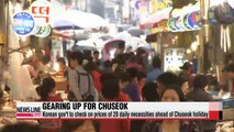Korean gov't to check on prices ahead of Chuseok holiday