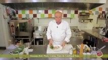 Pannequet de saumon mariné et brandade de morue fraîche, vinaigrette à l'huile d'olive de la Vallée des Baux de Provence par Serge Chenet