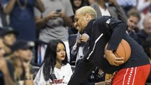 Rihanna Check Out Chris Brown At Basketball Game - Rihanna Chris Brown REUNITED