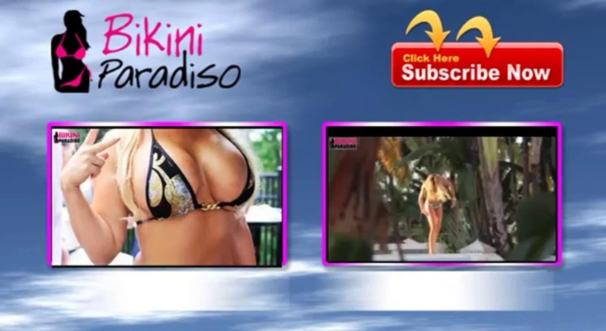 Claudia Galanti in a SEXY Green Bandeau Bikini bikini paradiso FULL HD