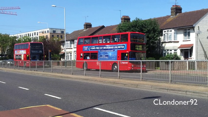 Buses at Romford Rom Valley Way roundabout 22-07-2014