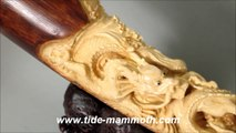 """Mammoth Ivory Handcrafted """" Zodiac Dragon"""" Whole Tusk Carving 37712"""