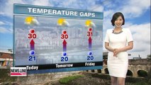 Passing showers down south, warmer temperatures up north