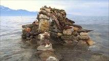 Art brut en suisse-Le vieil homme et le lac.. Scene de peche sur le lac leman