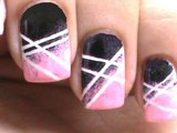 Black and pink ❥ Cute Nail Art Stripes ❥ How to Do Nail Designs Step By Step