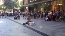 Street drummer VS Dumb guy!