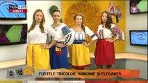 Fustele tricolor, armonie şi eleganţă, ţinute elegante cu motiv naţional - patriotic. Nicoleta Sergentu, creatoare.