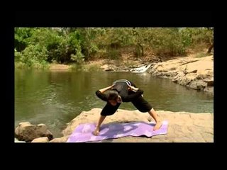 Power Yoga Sequence - Knee Hug & Prasarita Paddutasan with Sideward Squat.