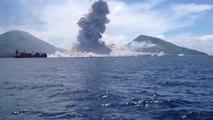 Tavurvur Yanardağı'nın patlama anı görüntülendi