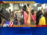 Women journalists protest over Tv9 & ABN ban in Telangana, arrested