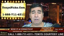 Connecticut Huskies vs. Boise St Broncos Pick Prediction NCAA College Football Odds Preview 9-13-2014