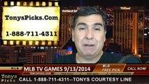 MLB Betting Previews Picks Saturday TV Games Predictions 9-13-2014
