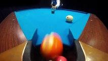 GoPro Video of a Man Performing Impressive Billiard Trick Shots