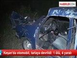 Keşan'da otomobil, tarlaya devrildi: 1 ölü, 4 yaralı