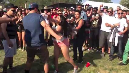 Big Drunk Girl Fights Crowd And Gets Knocked Out
