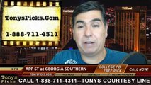 Georgia Southern Eagles vs. Appalachian St Mountaineers Free Pick Prediction College Football Point Spread Odds Betting Preview 9-25-2014
