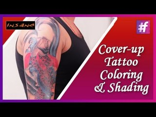 Coloring & Shading Cover-up Tattoo | Permanent Tattoo Tutorial