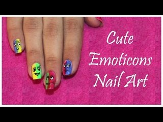 Cute Emoticons Nail | Dual Shade Nails | Insane Nails and Tattoos