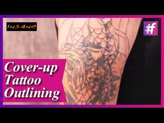 Outlining Cover-up Tattoo | Permanent Tattoo Tutorial