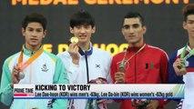 Lee Dae-hoon, Lee Da-bin earn golds in taekwondo